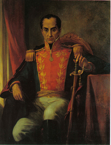 Simon Bolivar seated